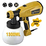 Paint Sprayer Gun 800ml/min, Ginour Electric Spray Gun wtih 3 Spray Patterns & 3 Nozzle Sizes, Flow...