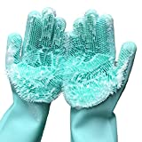 Cleaning Sponge Gloves, Silicone Reusable Cleaning Brush Heat Resistant Scrubber Gloves for...
