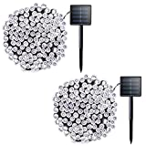 Lalapao 2 Pack Solar String Lights 72ft 22m 200 LED 8 Modes Solar Powered Xmas Outdoor Lights...
