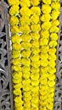 5 pack Artificial Yellow Marigold flower garlands/strings 5 ft long- for use in parties,...