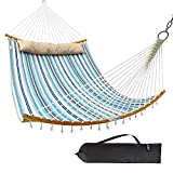 Ohuhu Double Hammock with Detachable Pillow, 2019 All New Curved-Bar Design Strong Bamboo Hammock...