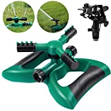 Homemaxs Lawn Sprinkler 3 Arm with Impact Sprinkler, Automatic 360 Degree Rotating, Adjustable Angle...