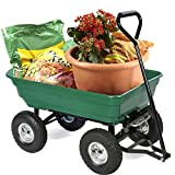 BestMassage Garden Cart Utility Yard Dump Cart Wagon Carrier Wheelbarrow 4 Air Tires with Poly...