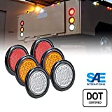2 Red + 2 Amber + 2 White 4' Round 24 LED Trailer Tail Light Kit [DOT Certified] [Grommets & Plugs...