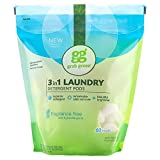 Grab Green Natural 3 in 1 Laundry Detergent Pods, Free & Clear/Unscented, 60 Loads, Fragrance Free,...