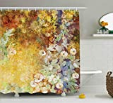 Ambesonne Autumn Shower Curtain, Composition of Fall Season Foliage with Earthy Colors Romantic...