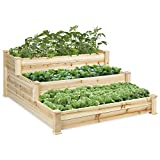 Best Choice Products 3-Tier 4x4ft Elevated Wooden Vegetable Garden Bed Planter Kit w/ No Assembly...