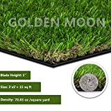 GOLDEN MOON Realistic Artificial Grass Mat 3'x 5'(15sq ft) 3-Tone Thick Outdoor Turf Rug 1in(25mm)...