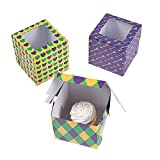 Fun Express - Mardi Gras Cupcake Boxes for Mardi Gras - Party Supplies - Containers & Boxes - Paper...