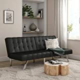 Mainstays Faux Leather Tufted Convertible Futon Sofa Bed, Brown