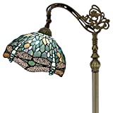 Tiffany Style Reading Floor Lamp Sea Blue Stained Glass with Crystal Bead Dragonfly Lampshade 64...
