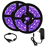 Onforu 33ft LED UV Black Light Strip Kit, 600 Units UV Lamp Beads, 12V Flexible Blacklight Fixtures,...
