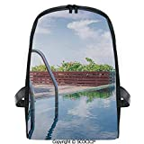 SCOCICI Students Cute Printed Bookbag Swimming Pool Caribbean Poolside Plants Summertime Traveling...