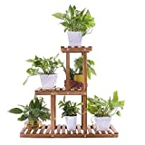 Ufine Wood Plant Stand Indoor Outdoor 3 Tier Vertical Carbonized Multiple Planter Holder Flower...