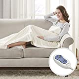 Beautyrest Foot Pocket Soft Microlight Plush Electric Blanket Heated Throw Wrap with Auto Shutoff,...