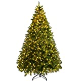 Goplus Pre-Lit Christmas Tree Artificial PVC Spruce Hinged with 880 LED Lights and Solid Metal Legs...