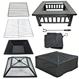 LEMY 32' Outdoor Fire Pit Square Metal Firepit Backyard Patio Garden Stove Wood Burning BBQ Fire Pit...