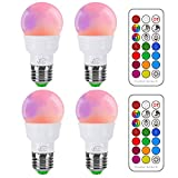iLC RGB LED Light Bulb, Color Changing Light Bulb Dimmable 3W E26 Screw Base RGBW, Mood Light Flood...