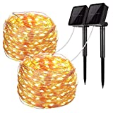 Solar String Lights, 2 Pack 100 LED Solar Fairy Lights 33 Feet 8 Modes Copper Wire Lights Waterproof...