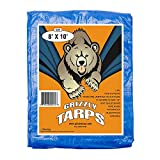 B-Air BA-GT-8X10-BL GTRP810 Grizzly 8 x 10 Feet Blue Multi Purpose Waterproof Poly Tarp Cover 5 Mil...