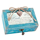 True Friends Grateful Teal Wood Locket Jewelry Music Box Plays Tune That's What Friends are for