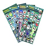 HighMount Halloweens Skull Stickers 4 Sheets with Pirates, Ghost and Bones Faces for Jack O Lantern...