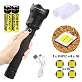 Garberiel Super Bright XHP70 LED Flashlight 3 Modes 5000 Lumens Zoom Torch Light with Battery and...