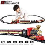 TEMI Electronic Classic Railway Train Sets w/ Steam Locomotive Engine, Cargo Car and Tracks, Battery...