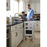 Guidecraft Classic Kitchen Helper Stool - White W/Keeper and Non-Slip Mat: Collapsible, Adjustable...