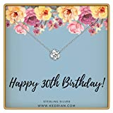 KEDRIAN 30th Birthday Necklace, 925 Sterling Silver, 30 Birthday Gifts Necklaces for Women, Pendant...