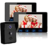 Wired Video Doorbell Intercom System, Video Doorbell Kit with 2-7' Color Monitor and HD Camera Night...