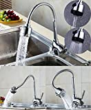 Universal 360 Rotating Tip Three-Way Hot And Cold Faucet Kitchen Sink Faucet Plating Head (New 2019)
