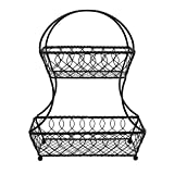 Gourmet Basics by Mikasa Loop and Lattice 2-Tier Flatback Metal Fruit Basket, Antique Black