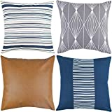 Woven Nook Decorative Throw Pillow Covers ONLY for Couch, Sofa, or Bed Set of 4 18 x 18 inch Modern...