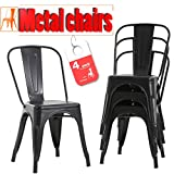 FDW Stackable Restaurant Metal Chair Chic Metal Kitchen Dining Chairs Set of 4 Trattoria Chairs...