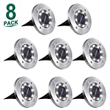 Solar Ground Lights,8 LED Garden Lights Waterproof Patio Outdoor Light with Light Sensor for...