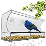 Best Window Bird Feeder with Strong Suction Cups & Seed Tray, Outdoor Birdfeeders for Wild Birds,...