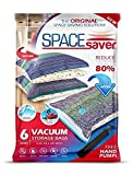 SpaceSaver Premium Reusable Vacuum Storage Bags (Jumbo 6 Pack), Save 80% More Storage Space. Double...