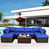 Outside Patio Furniture Brown Rattan Sofa Wicker Sectional Sofa Set Conversation Set Garden Couch...