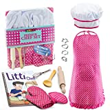 JaxoJoy Complete Kids Cooking and Baking Set - 11 Pcs Includes Apron for Little Girls, Chef Hat,...