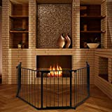 MagDurnus Black Fireplace Fence 5 Panels Baby Safety Fence Hearth Gate BBQ Fire Gate Baby Play Yard...