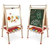 Wooden Art Easel Double-Sided Whiteboard & Chalkboard Adjustable Standing Easel with Paper Roll...