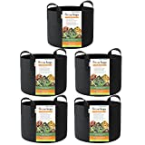 HONEST OUTFITTERS 5-Pack 15 Gallon Smart Grow Bags/Plant Container/Aeration Fabric Pots for Potato...