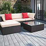 Devoko 5 Pieces Patio Furniture Sets All-Weather Outdoor Sectional Sofa Manual Weaving Wicker Rattan...