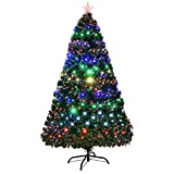 Goplus 5FT Artificial Christmas Tree Pre-Lit Optical Fiber Tree 8 Flash Modes W/UL Certified...