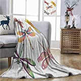 Homrkey Lightweight Blanket Dragonfly Five Spiritual Bugs in Modern Abstract Pattern Natural Beauty...