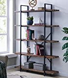 Homissue 5-Tier Bookcase, Vintage Industrial Wood and Metal Bookshelves for Home and Office...