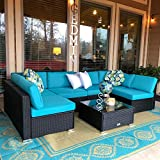 Peach Tree 7 PCs Outdoor Patio PE Rattan Wicker Sofa Sectional Furniture Set With 2 Pillows and Tea...