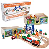Orbrium Toys 52 Pcs Deluxe Wooden Train Set with 3 Destinations Fits Thomas, Brio, Chuggington,...