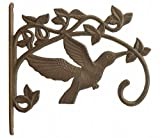 Hummingbird Plant Hanger Cast Iron Decorative Flower Basket Hook Large 11.25' Deep